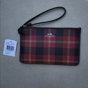 Coach Plaid Wristlet NWT